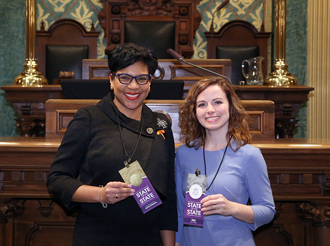 State Rep. Sylvia Santana (D-Detroit) attended tonight's State of the State address with her guest, Dearborn City Councilwoman Erin Byrnes, on Tuesday, Jan. 23, 2018, at the state Capitol in Lansing.
