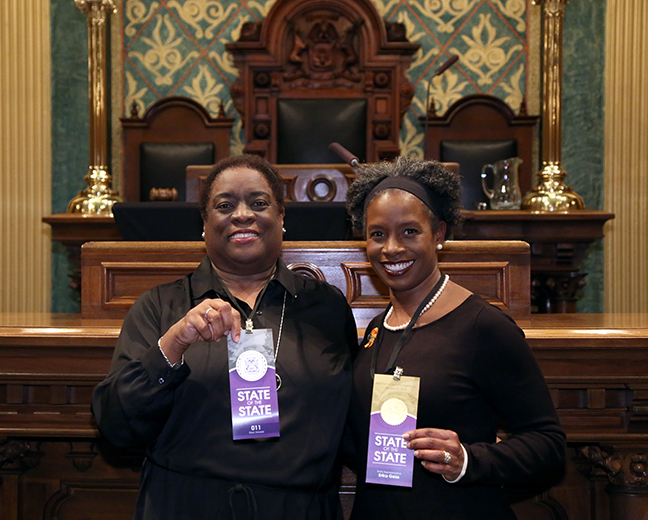 State Rep. Erika Geiss (D-Taylor) attended tonight's State of the State address with her mother, Germaine Swanson, on Tuesday, Jan. 23, 2018, at the state Capitol in Lansing.