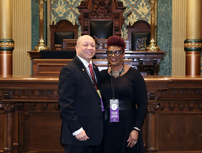 State Rep. Sheldon Neeley (D-Flint) attends Gov. Rick Snyder's eighth State of the State address with his wife, Cynthia Neeley, on Tuesday, Jan. 23, 2018, at the state Capitol in Lansing.