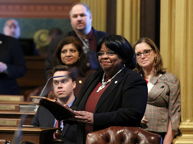 State Rep. Brenda Carter (D-Pontiac) introduced a resolution to dedicate January as Local School Board Recognition Month, on Wednesday, January 23, 2019. There are 600 school boards or boards of education managing and overseeing the school districts in Michigan. The resolution passed unanimously.