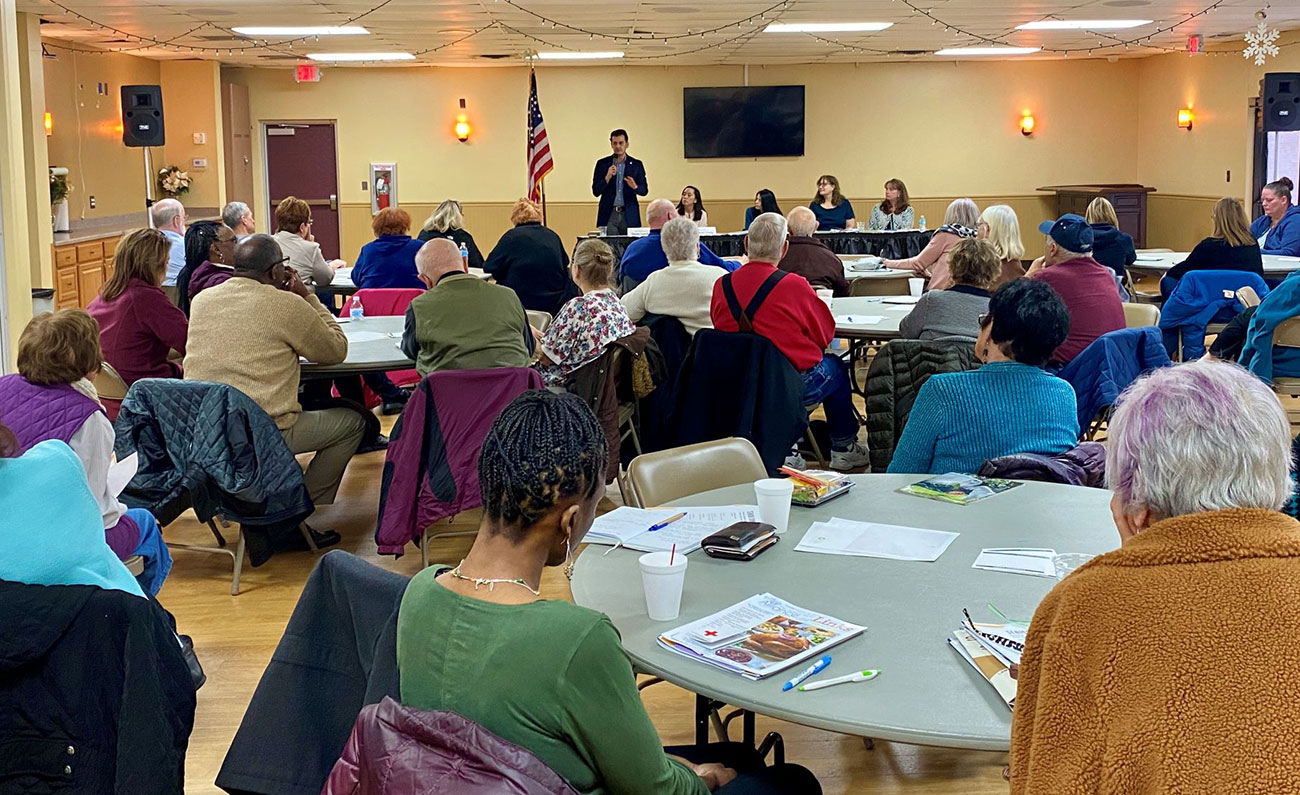 State Rep. Darrin Camilleri (D-Brownstown), State Sen. Stephanie Chang (D-Detroit), Attorney General Dana Nessel, and long-term care experts Kari West and Michelle Danou hosting an elder abuse town hall at the Woodhaven Recreation Center on Jan. 24, 2020.