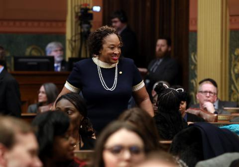 State Rep. Sherry Gay-Dagnogo (D-Detroit) was joined by the CEO of Team Wellness Center Tony Pollicella and Detroit resident Navaeh Woods for Gov. Whitmer's second State of the State address at the Capitol in Lansing on Wednesday, Jan. 29, 2020.