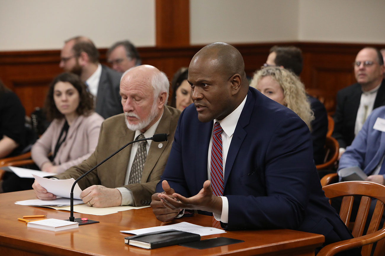 State Rep. Joe Tate (D-Detroit) testifying in favor of his House Resolution 157 before the House Natural Resources Committee in Lansing on Jan. 21, 2020