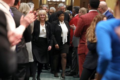 State Rep. Tenisha Yancey (D-Harper Woods) was joined by Amora Harris and Emmy Gillen for Gov. Whitmer's second State of the State address at the Capitol in Lansing on Wednesday, Jan. 29, 2020.