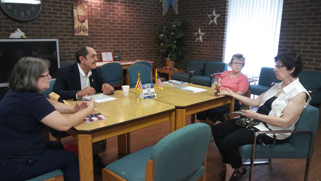 State Rep. Tim Sneller (D-Burton) met with constituents at his coffee hour at the Burton Senior Center on June 23, 2017.