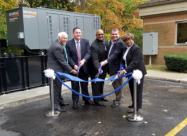 State Rep. Terry Sabo (D-Muskegon) at the Fresenius Kidney Care ribbon cutting for their permanent back-up generator which will prevent interruption of kidney dialysis procedures during power outages, Monday, Sept. 301, 2017.