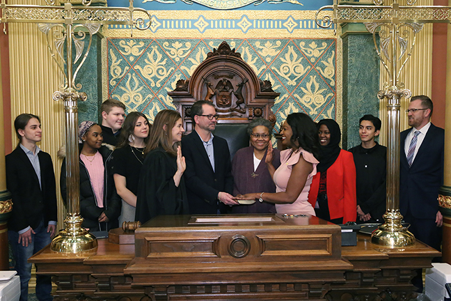 State Rep. Sarah Anthony (D-Lansing) was sworn in officially as representative for the 68th House District for the 2019-2020 legislative session, on Wednesday, January 9, 2019. The swearing-in ceremony marked the formal opening of Michigan's 100th Legislature.