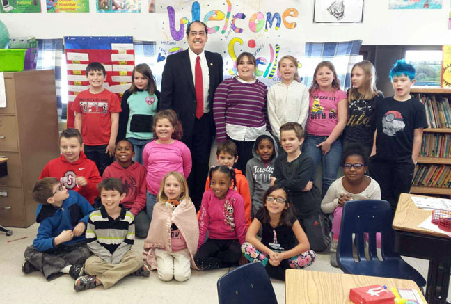 State Rep. Tim Sneller (D-Burton) read to students in celebration of March is Reading Month at Barhitte Elementary on Monday, March 13, 2017.