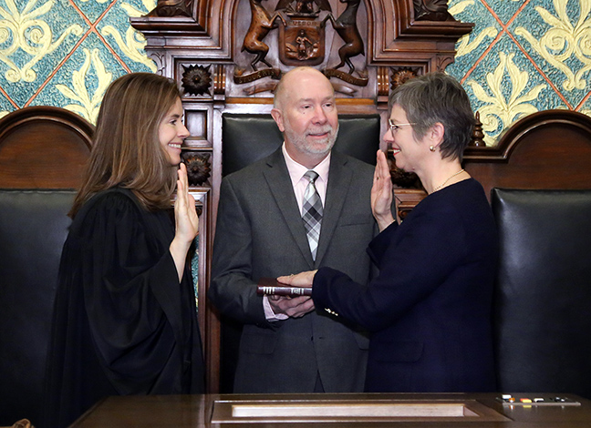 State Rep. Julie Brixie (D-East Lansing) was sworn in officially as representative for the 69th House District for the 2019-2020 legislative session, on Wednesday, January 9, 2019. The swearing-in ceremony marked the formal opening of Michigan's 100th Legislature.