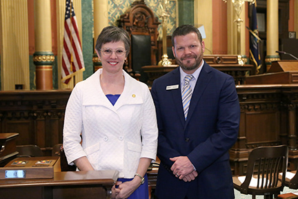 State Rep. Julie Brixie (D-Meridian Township) welcomed Kirk Ray, president and CEO of McLaren Greater Lansing, for the State of the State address Tuesday, February 12, 2019.