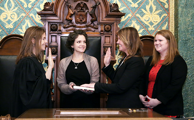 State Rep. Sara Cambensy (D-Marquette) was sworn in officially as representative for the 109th House District for the 2019-2020 legislative session, on Wednesday, January 9, 2019. The swearing-in ceremony marked the formal opening of Michigan's 100th Legislature.