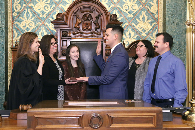 State Rep. Darrin Camilleri (D-Brownstown Twp.) was sworn in officially as representative for the 23rd House District for the 2019-2020 legislative session, on Wednesday, January 9, 2019. The swearing-in ceremony marked the formal opening of Michigan's 100th Legislature.