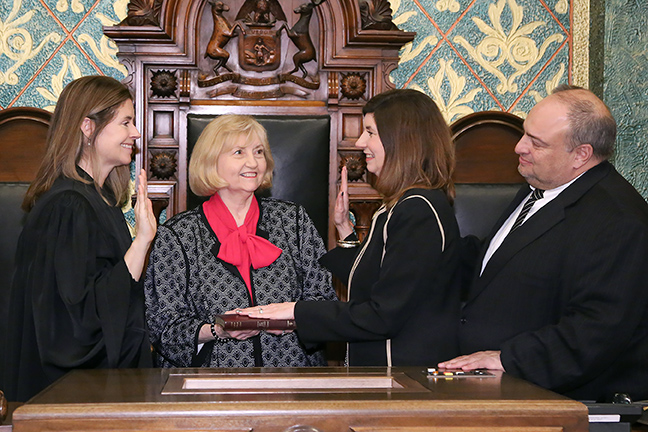 State Rep. Cara Clemente (D-Lincoln Park) was sworn in officially as representative for the 14th House District for the 2019-2020 legislative session, on Wednesday, January 9, 2019. The swearing-in ceremony marked the formal opening of Michigan's 100th Legislature.