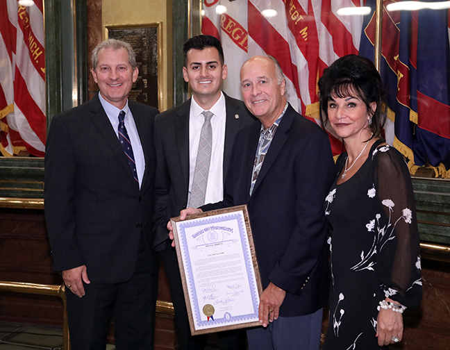 State Rep. Darrin Camilleri (D-Brownstown Township) with guest speakers Michigan Supreme Court Justice Brian Zahra,left, Judge Rosemarie Aquilina, right and Lou Grech-Cumbo, winner of the Maltese American of the Year at Camilleri's third annual Maltese American Heritage Day at the Capitol on September 19, 2019.