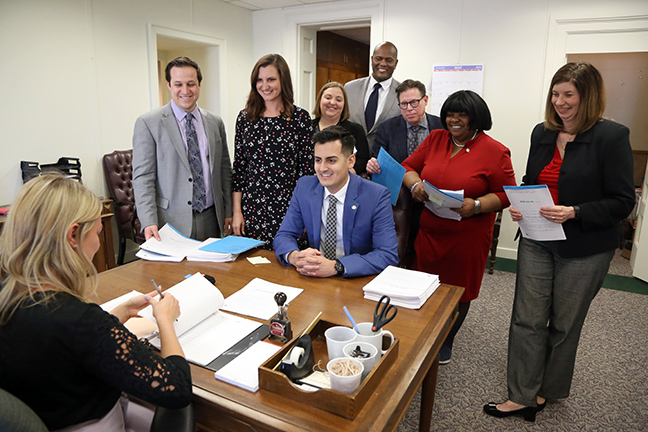 State Rep. Darrin Camilleri (D-Brownstown Township) and other House democrats introduced their Better Outcomes in Literacy and Development (BOLD) package of bills aimed at addressing Michigan's literacy crisis, on May 23, 2019.