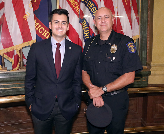 Rep. Darrin Camilleri (D-Brownstown Township) welcomed special guest Lieutenant Rick Tanguay of the Trenton police as part of the 9/11 remembrance ceremonies at the Capitol.