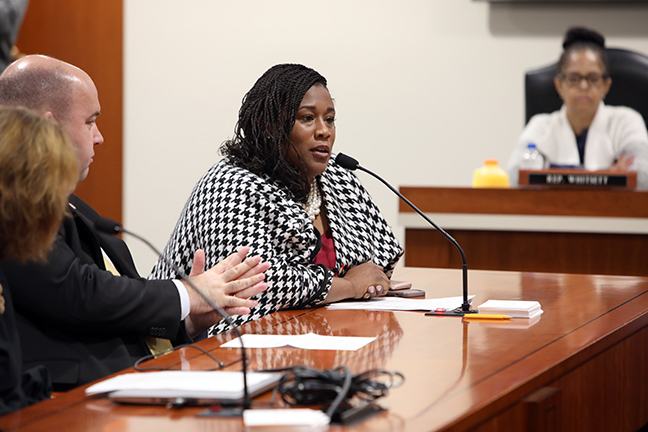 State Rep. Tenisha Yancey (D-Detroit) testifies in the House Tax Policy Committee Wednesday, May 22, 2019.