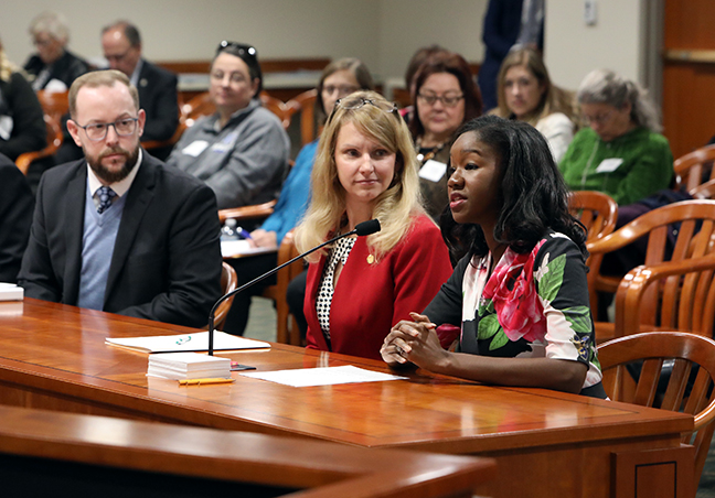 State Rep. Kyra Bolden (D-Southfield) testified on her bill HB 5117, which would exempt certain claims under the wrongful imprisonment compensation act, in the House Committee on Judiciary Tuesday, October 22, 2019.
