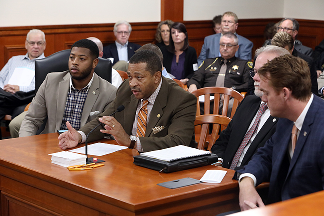 State Rep. Tyrone Carter (D-Detroit) testifies on his bill HB 5041, which addresses school bus safety, in the House Committee on Military, Veterans and Homeland Security on Tuesday, October 22, 2019.