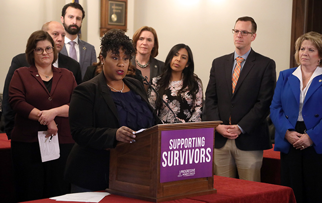 State Rep. Tenisha Yancey (D-Detroit) spoke at a press conference about a bill package that would help provide support to survivors of domestic violence, sexual assault, and stalking, on Wednesday, October 23, 2019.