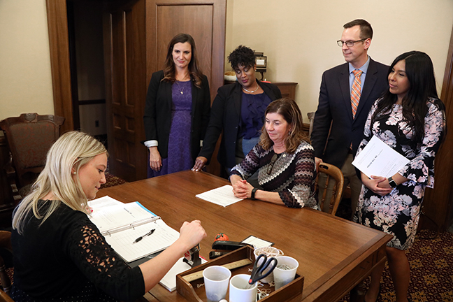 State Rep. Cara Clemente (D-Lincoln Park) and other democratic representatives submitted a bill package that would help provide support to survivors of domestic violence, sexual assault, and stalking, on Wednesday, October 23, 2019.