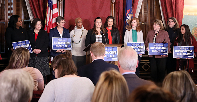 Members of the House Democratic Caucus were joined by Gov. Gretchen Whitmer and other stakeholders for the introduction of the Michigan Reproductive Health Act (RHA), which would guarantee individuals are free to make independent decisions about their own reproductive health, at a Capitol press conference Tuesday, October 29, 2019. State Reps. Bill sponsors include state Reps. Kristy Pagan (D-Canton), Sarah Anthony (D-Lansing), Julie Brixie (D-Meridian Township), Rebekah Warren (D-Ann Arbor), Mari Manoogian (D-Birmingham), Rachel Hood (D-Grand Rapids) and Sherry Gay-Dagnogo (D-Detroit).
