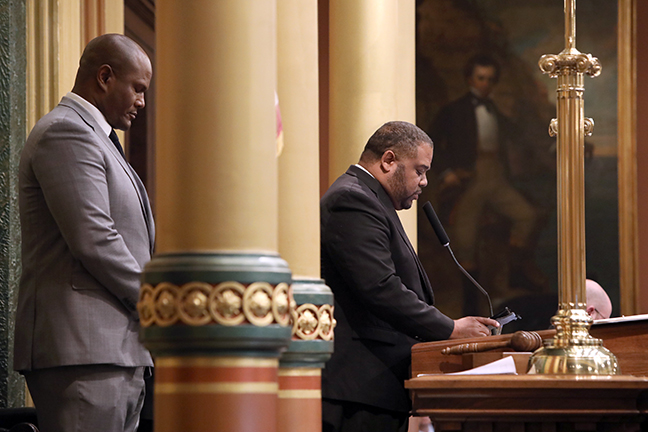 State Rep. Joe Tate (D-Detroit) welcomed Bishop Reginald Bluestein, of New Realm Holiness Church in Detroit, for the invocation on Tuesday, October 29, 2019.