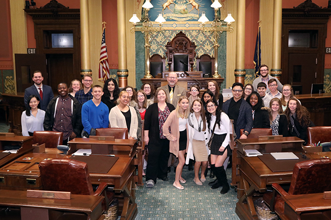 State Reps. John Chirkun (D-Roseville) and Lori Stone (D-Warren) welcomed students from Mr. Jason Henshaw's class at Warren Woods Tower High School to the House floor Wednesday, October 30, 2019.
