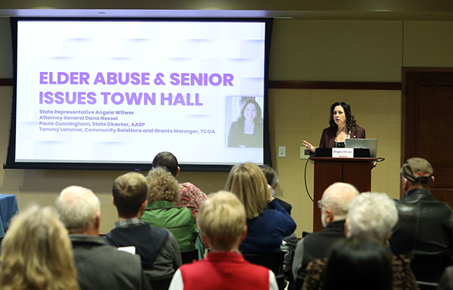State Rep. Angela Witwer (D-Delta Township) hosted an Elder Abuse Town Hall with Attorney General Dana Nessel at the Delta Township Library on Monday, Nov. 4, 2019.