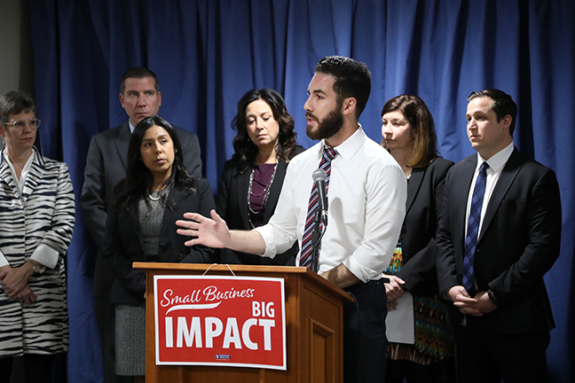 State Rep. Abdullah Hammoud (D-Dearborn) spoke at a press conference introducing House Democrats' Small Business, Big Impact legislation on Tuesday, November 5, 2019. The five bill package is designed to ensure entrepreneurs have access to the critical supports and opportunities necessary to get their businesses off the ground and keep their doors open.