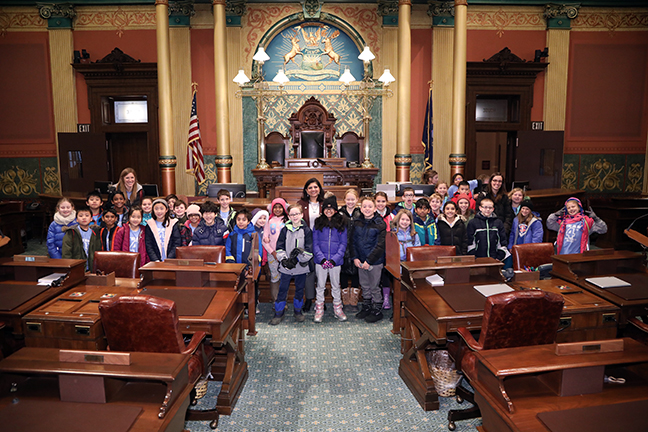 State Rep. Padma Kuppa (D-Troy) talked with students from Costello Elementary School during their tour of the Capitol on Wednesday, November 13, 2019.