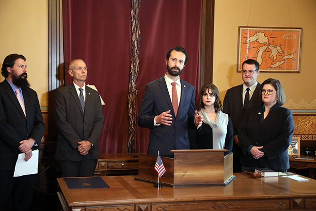 House Democratic Floor Leader Yousef Rabhi (D-Ann Arbor) and Reps. Laurie Pohutsky (D-Livonia), Kara Hope (D-Holt) and John Reilly (R-Oakland Township) announced the introduction of House Bill 5254, which will end the corporate Michigan Economic Growth Authority (MEGA) tax program in two years, at a Capitol press conference on Thursday, November 14, 2019.