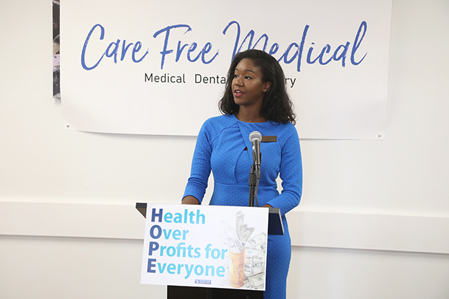 State Rep. Kyra Bolden (D-Southfield) and House Democrats held a press conference to unveil their Health Over Profits for Everyone (H.O.P.E.) package, aimed at lowering out-of-pocket costs for prescription medications and doctor visits while increasing accountability for pharmaceutical companies engaged in price gouging, at Care free Medical in Lansing on Monday, October 7, 2019.