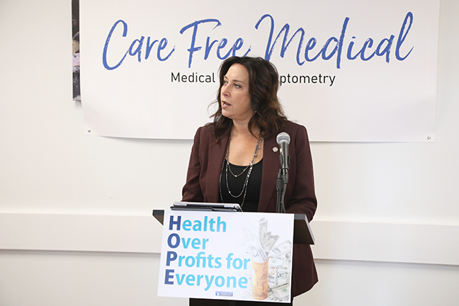 State Rep. Angela Witwer (D-Delta Township) and House Democrats held a press conference to unveil their Health Over Profits for Everyone (H.O.P.E.) package, aimed at lowering out-of-pocket costs for prescription medications and doctor visits while increasing accountability for pharmaceutical companies engaged in price gouging, at Care free Medical in Lansing on Monday, October 7, 2019.