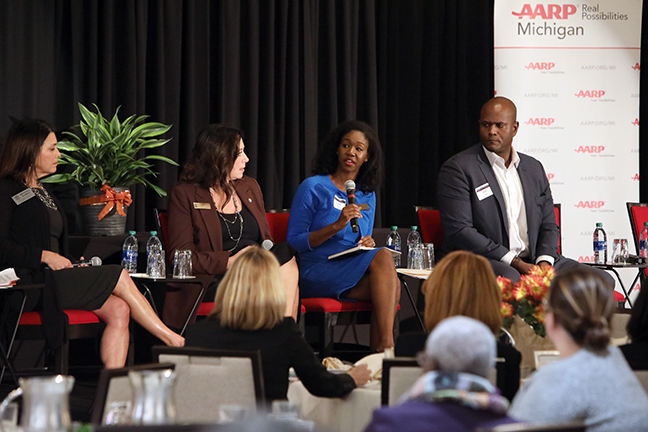 State Rep. Kyra Bolden (D-Southfield) and other state representatives discussed state and local aging policy as part of a panel discussion at the AARP Age-Friendly Communities and States Conference in Lansing on Monday, October 7, 2019.