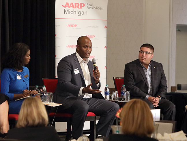 State Rep. Joe Tate (D-Detroit) and other state representatives discussed state and local aging policy as part of a panel discussion at the AARP Age-Friendly Communities and States Conference in Lansing on Monday, October 7, 2019.