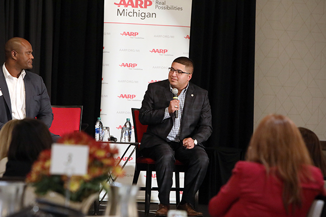 State Rep. Alex Garza (D-Taylor) and other state representatives discussed state and local aging policy as part of a panel discussion at the AARP Age-Friendly Communities and States Conference in Lansing on Monday, October 7, 2019.