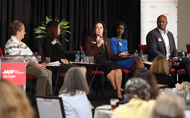 State Rep. Angela Witwer (D-Delta Township) and other state representatives discussed state and local aging policy as part of a panel discussion at the AARP Age-Friendly Communities and States Conference in Lansing on Monday, October 7, 2019.