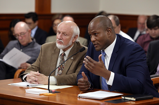 State Rep. Joe Tate (D-Detroit) testifies on his bill in a bipartisan water quality package that would tighten testing standards for lead and PFAS in drinking water, in the House Natural Resources Committee Tuesday, October 15, 2019.