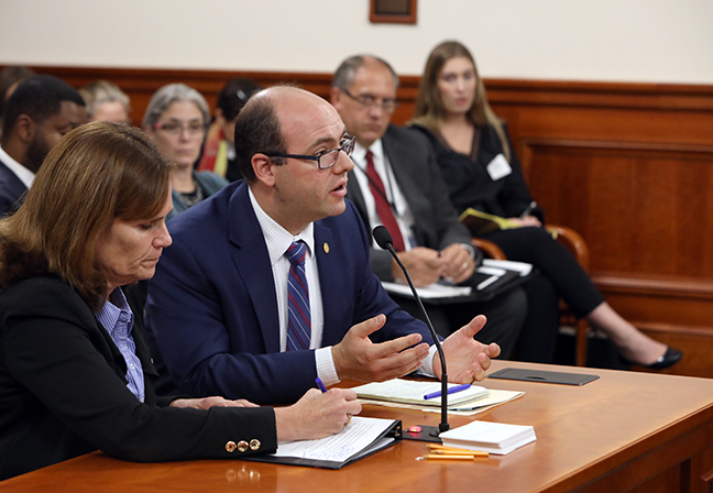 State Rep John Cherry (D-Flint) testifies on his bill in a bipartisan water quality package that would tighten testing standards for lead and PFAS in drinking water, in the House Natural Resources Committee Tuesday, October 15, 2019.