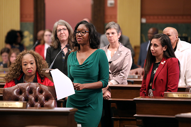 State Rep. Kyra Bolden (D-Southfield) speaks to a resolution in honor of National Pregnancy and Infant Loss Remembrance Day Tuesday, October 15, 2019.