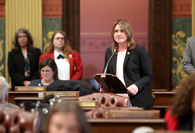 State Rep. Sara Cambensy (D-Marquette) speaks to her resolution urging Congress and federal agencies to provide greater support for ports, harbors and critical Great Lakes infrastructure, including the Soo Locks reconstruction project, on Tuesday, October 15, 2019. The resolution passed unanimously.
