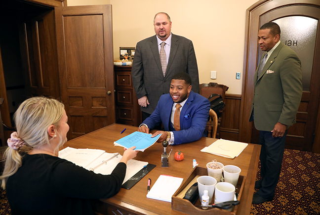 State Representatives Jewell Jones (D-Inkster), Tyrone Carter (D-Detroit) and Isaac Robinson (D-Detroit) submitted a package of bills aimed at clearing the criminal records of people convicted of marijuana offenses, on Tuesday, October 15, 2019.