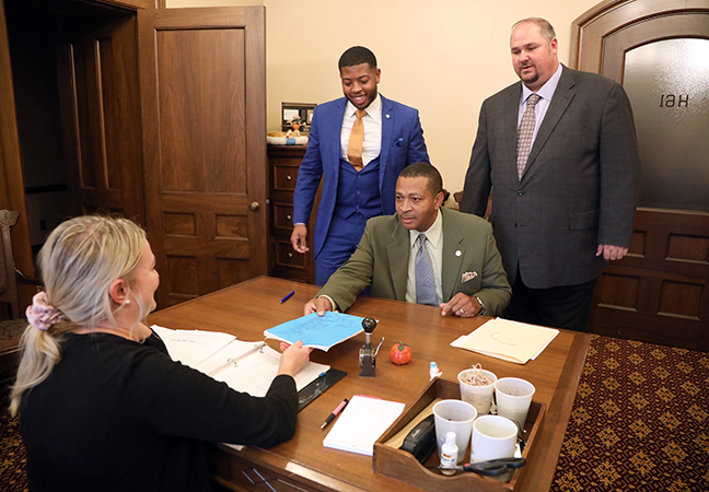 State Representatives Tyrone Carter (D-Detroit), Jewell Jones (D-Inkster) and Isaac Robinson (D-Detroit) submitted a package of bills aimed at clearing the criminal records of people convicted of marijuana offenses, on Tuesday, October 15, 2019.