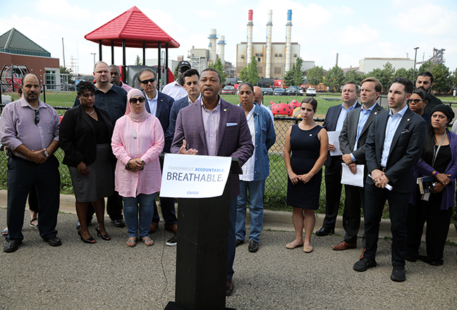 State Rep. Tyrone Carter (D-Detroit) speaks at a press conference about air quality concerns in Dearborn on Wednesday, August 21, 2019.