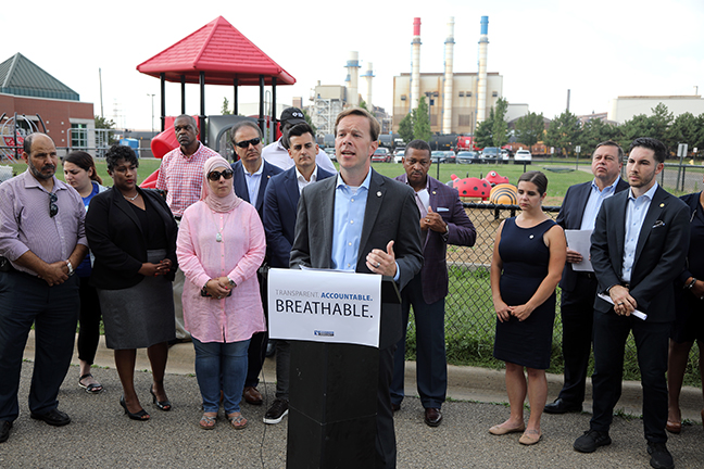 State Rep. Matt Koleszar (D-Plymouth) joined community and political leaders at a press conference drawing attention to air quality concerns, in Dearborn on Wednesday, August 21, 2019.