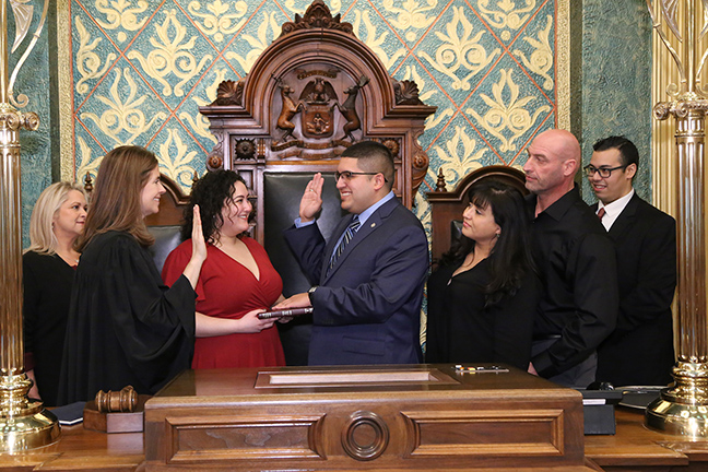 State Rep. Alex Garza (D-Taylor) was sworn in officially as representative for the 12th House District for the 2019-2020 legislative session, on Wednesday, January 9, 2019. The swearing-in ceremony marked the formal opening of Michigan's 100th Legislature.