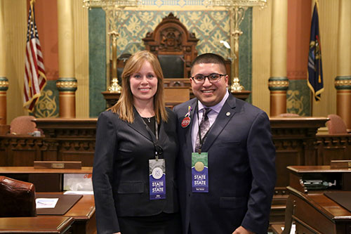 State Rep. Alex Garza (D-Taylor) was joined by Romulus Treasurer Stacy Paige for Gov. Whitmer's first State of the State address at the state Capitol in Lansing on Tuesday, Feb. 12, 2019.
