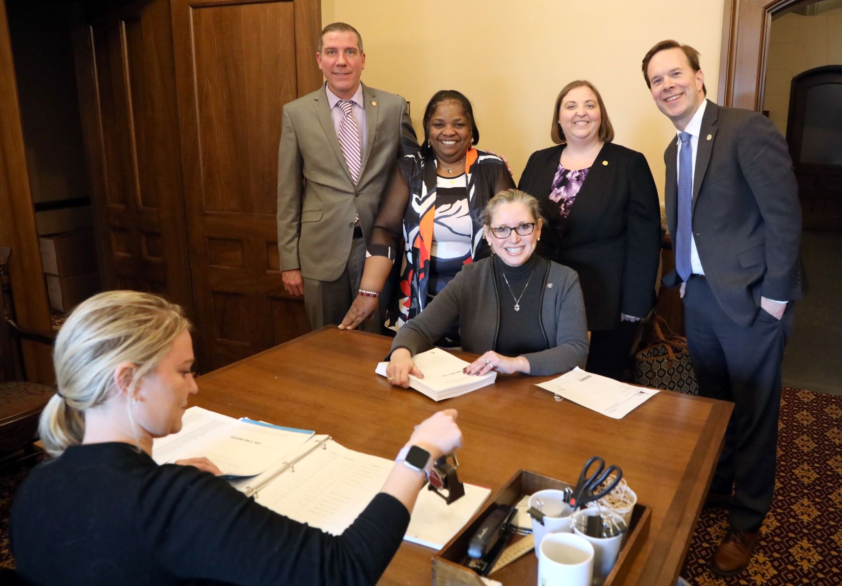 State Rep. Sheryl Kennedy (D-Davison) and members of the Educator's Caucus state Reps. Nate Shannon (D-Sterling Heights), Brenda Carter (D-Pontiac), Lori Stone (D-Warren), Matt Koleszar (D-Plymouth) introducing HB 5497 at the Capitol in Lansing on Feb. 19, 2020