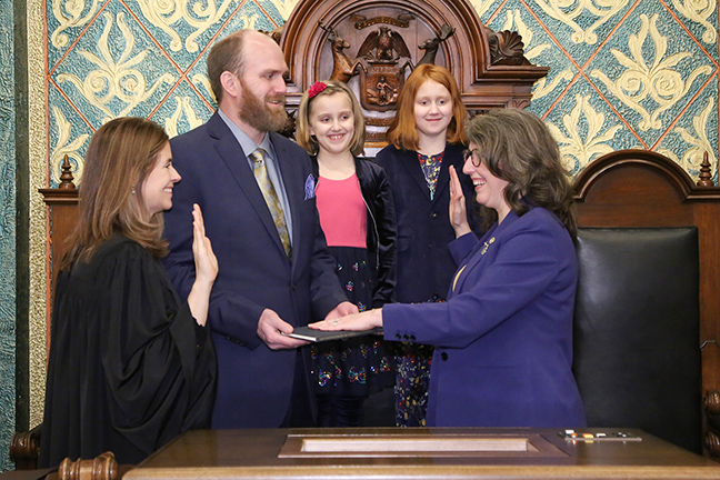 State Rep. Rachel Hood (D-Grand Rapids) was sworn in officially as representative for the 76th House District for the 2019-2020 legislative session, on Wednesday, January 9, 2019. The swearing-in ceremony marked the formal opening of Michigan's 100th Legislature.